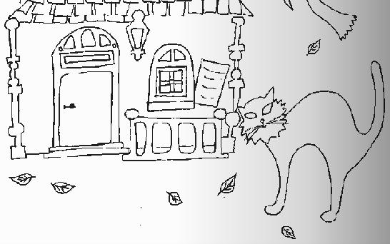 简笔画- 动物简笔画-万圣节的黑猫
