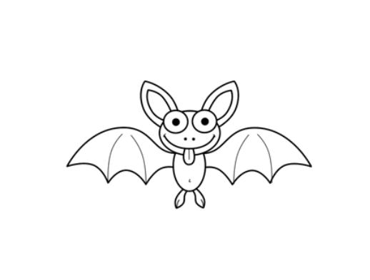 简笔画- 动物简笔画-万圣节蝙蝠图简笔画