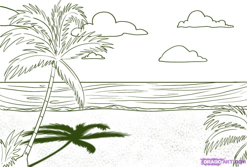 Line Art Beach : 风景简笔画图片大全图片