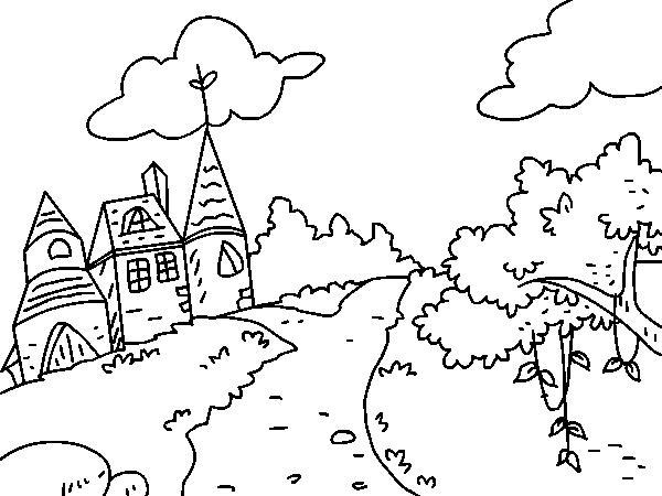 儿童简笔画风景图片-神奇的城堡简笔画