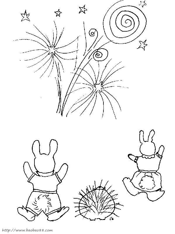风景简笔画图片大全-两只小兔子简笔画