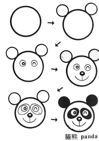 熊猫动物简笔画简笔画 熊猫动物简笔画图片欣赏 熊猫动物简笔画儿童画画作品