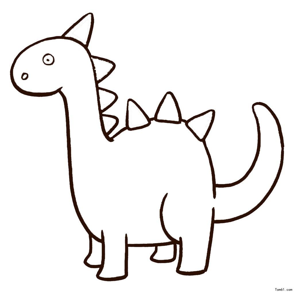 幼儿简笔画图片大全-可爱的小恐龙