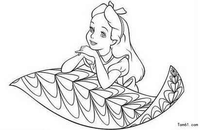 简笔画-小女孩在思考
