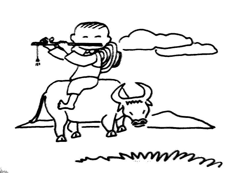 简笔画- 儿童风景简笔画-牧童还有黄牛