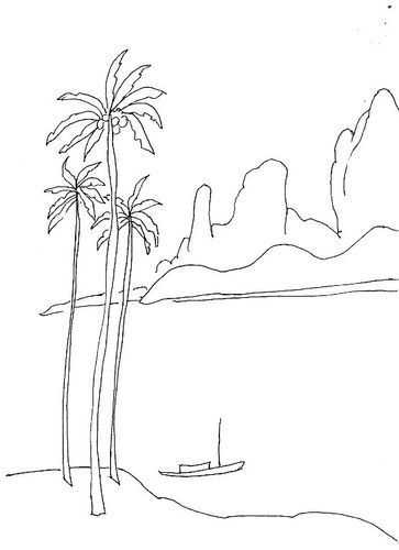景物铅笔画唯美-片 好看的热带风光简笔画 儿童简笔画风景图片 好看的热带风光图片