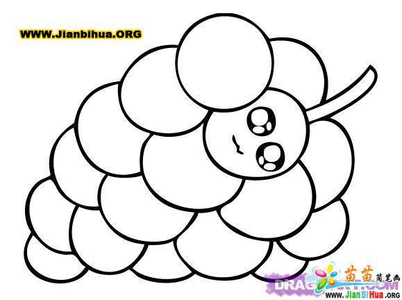 笔画花-可爱小葡萄简笔画