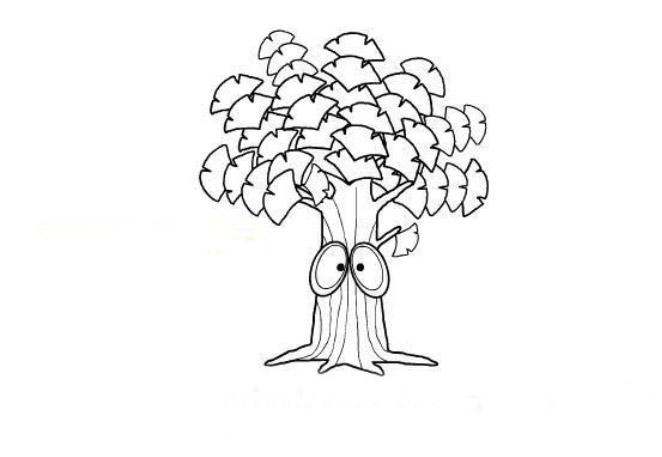 简笔画-植物简笔画-银杏