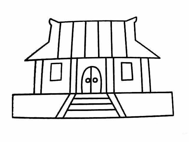 古代房子简笔画图片