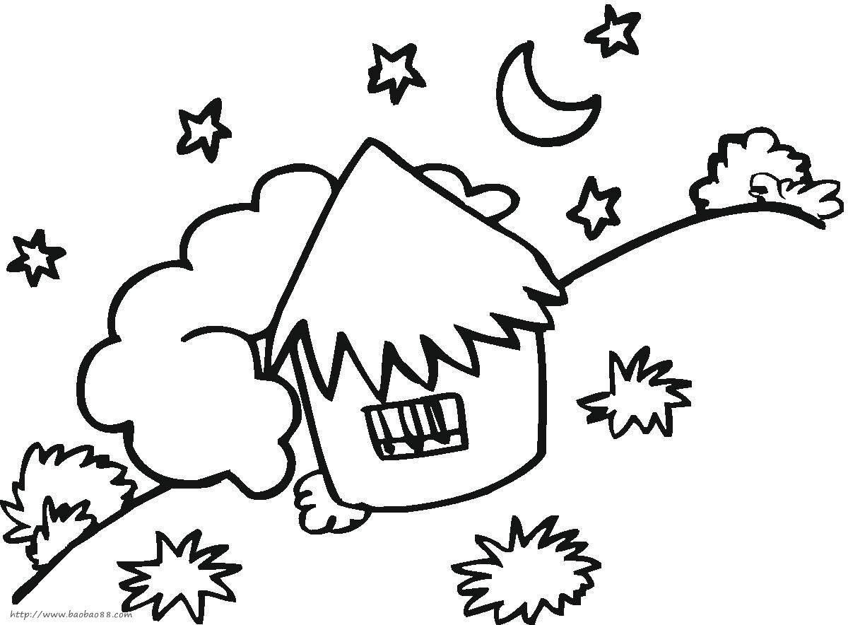 儿童画画 简笔画 教你画星光下的小房子的简笔画教程儿童画画
