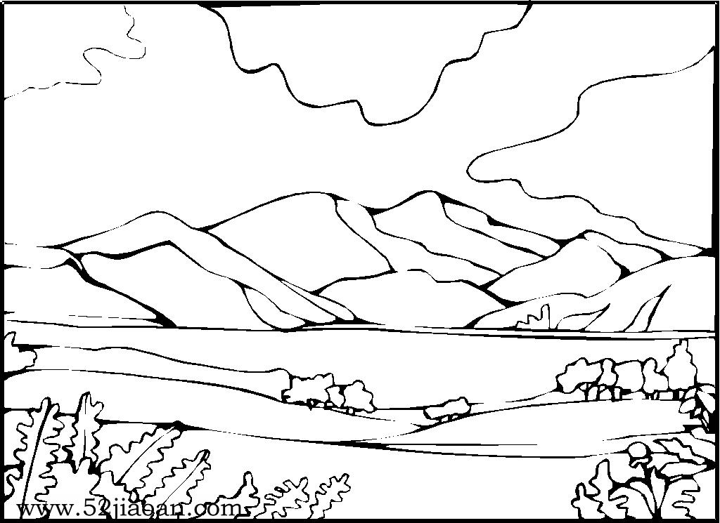山水风景简笔画-美丽的黄山简笔画