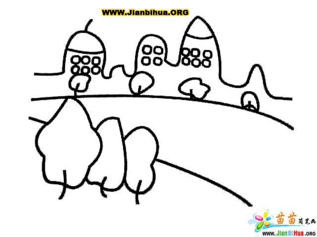 儿童画画 简笔画 风景简笔画-城市大道儿童画画