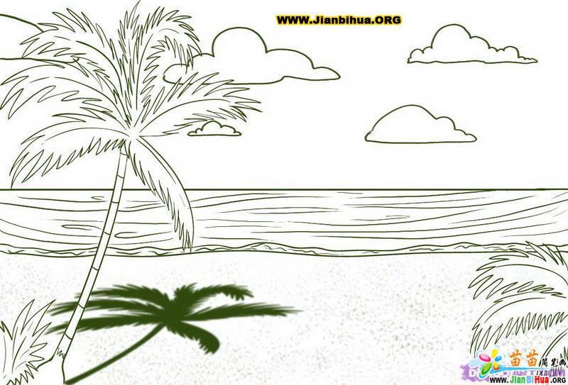 沙漠风景简笔画下载 秋天风景简笔画 彩铅风景简笔画