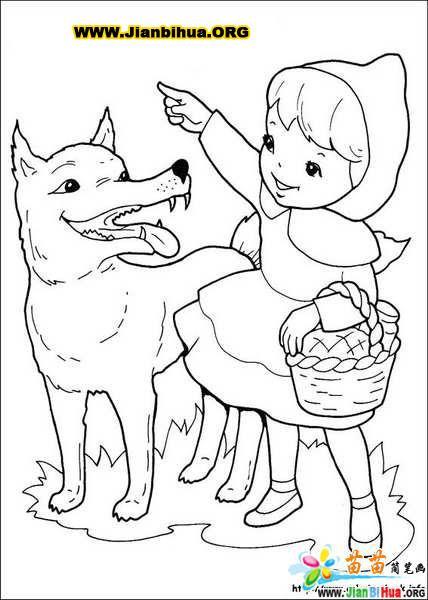 简笔画- 风景简笔画-小红帽和大灰狼