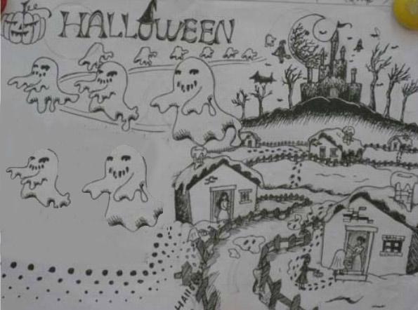儿童画画 简笔画 风景简笔画-万圣节前夜儿童画画