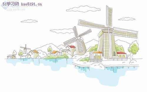 简笔画- 风景简笔画-大风车