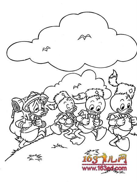 一起去爬山简笔画 一起去爬山图片欣赏 一起去爬山儿童画画作品