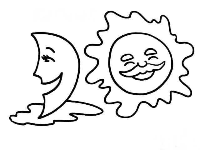 太阳和月亮风景简笔画简笔画