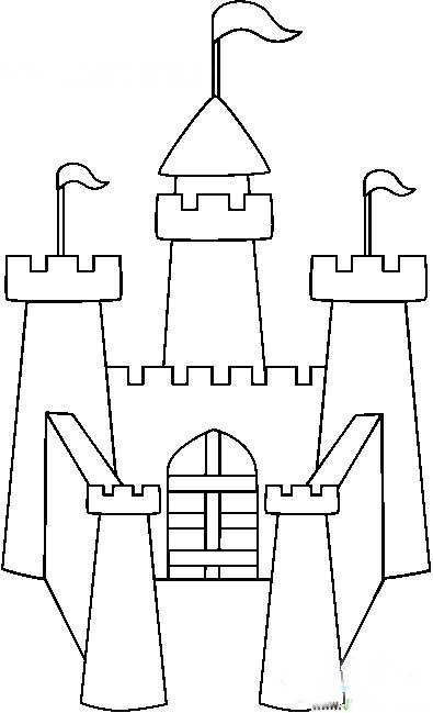 简笔画-童话城堡风景简笔画