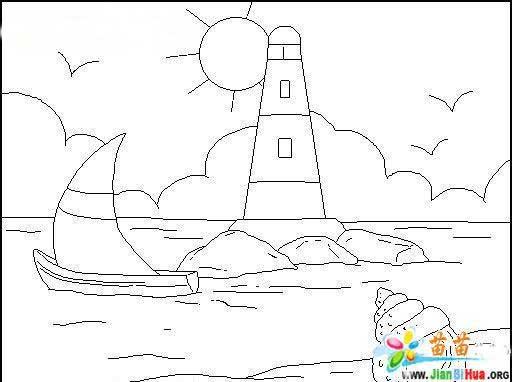 简笔画- 海上灯塔风景简笔画