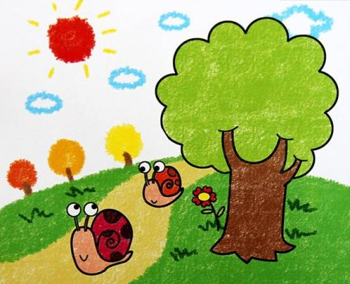 路上的蜗牛简笔画 路上的蜗牛图片欣赏 路上的蜗牛儿童画画作品