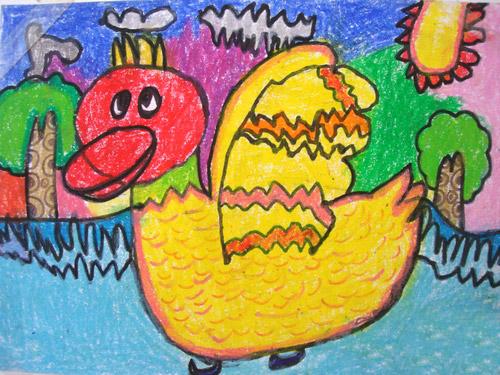 儿童画画 数字油画 小黄鸭唱歌儿童画画