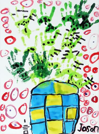 七彩仙人掌简笔画 七彩仙人掌图片欣赏 七彩仙人掌儿童画画作品 -数字