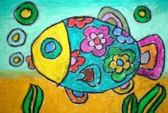 素描科幻画图片大全_水中鱼简笔画_水中鱼图片欣赏_水中鱼儿童画画作品-有伴网