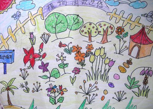 植物园简笔画 植物园图片欣赏 植物园儿童画画作品
