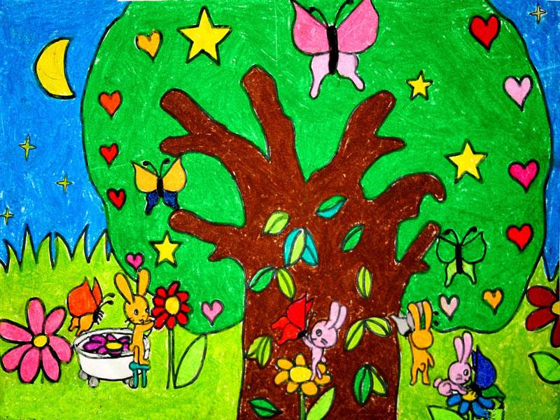 兔子一家简笔画 兔子一家图片欣赏 兔子一家儿童画画作品