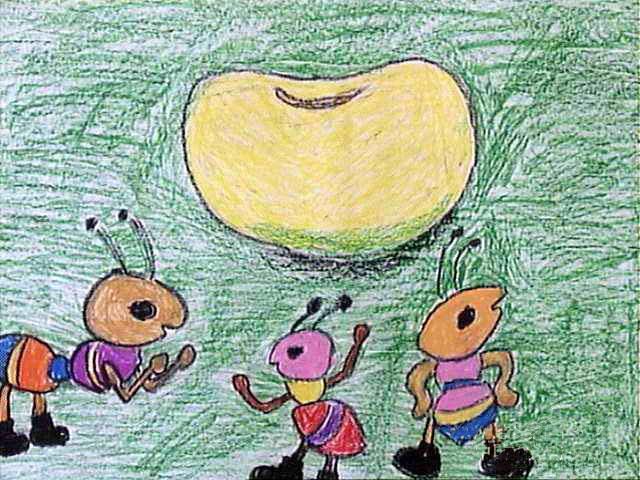 儿童画蚂蚁找大豆 六一儿童网