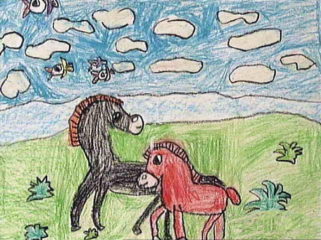 小马简笔画_小马图片欣赏_小马儿童画画作品-有伴网