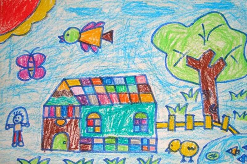 我的家绘画图片_我的家简笔画_我的家图片欣赏_我的家儿童画画作品-有伴网