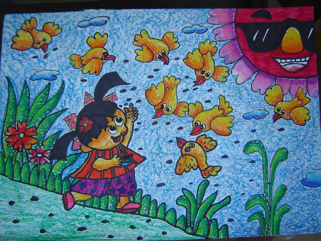 喂鸟简笔画_喂鸟图片欣赏_喂鸟儿童画画作品-有伴网