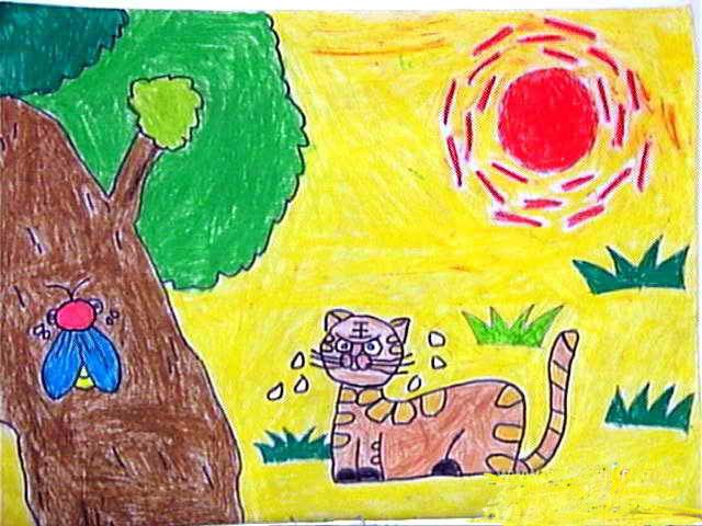 炎热的太阳公公简笔画