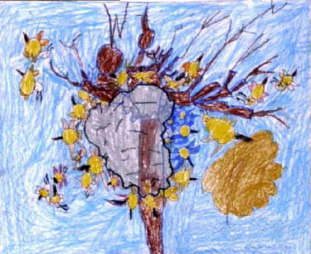 蜜蜂巢简笔画_蜜蜂巢图片欣赏_蜜蜂巢儿童画画作品-有