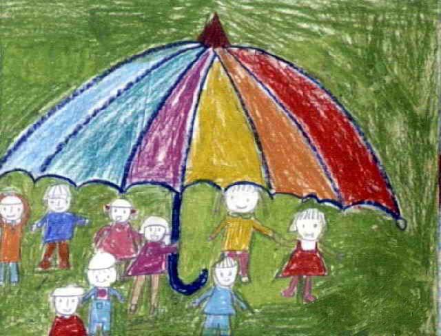 雨伞简笔画_雨伞图片欣赏_雨伞儿童画画作品-有伴网