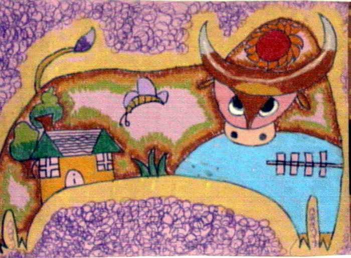 牛栏的花园简笔画 牛栏的花园图片欣赏 牛栏的花园儿童画画作品