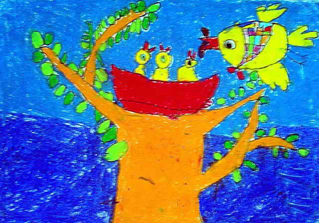 儿童画画 数字油画 小鸟吃虫子儿童画画