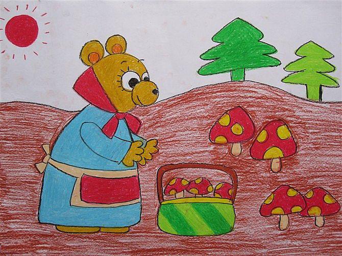 儿童画画 数字油画 小熊妈妈采蘑菇儿童画画