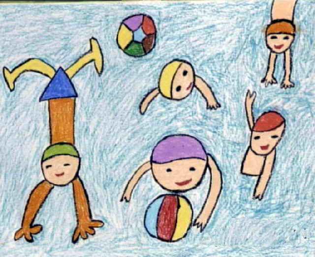 游泳简笔画_游泳图片欣赏_游泳儿童画画作品-有伴网