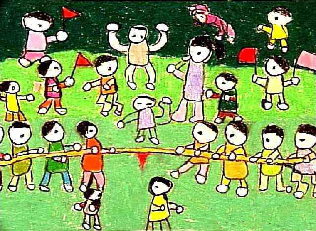 拔河比赛儿童画画