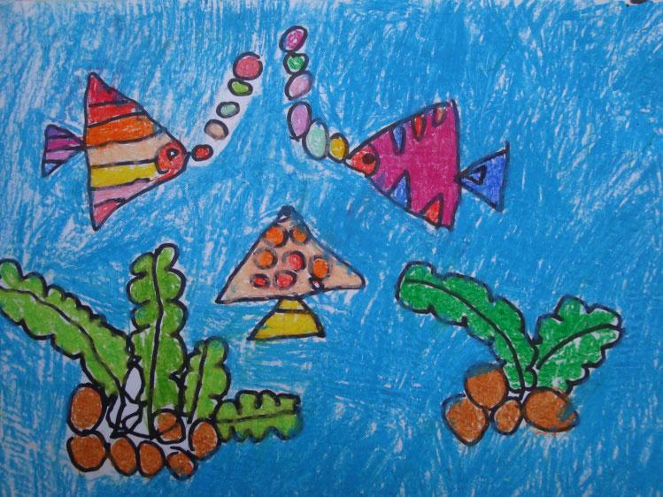 儿童画画 数字油画 海底世界儿童画画