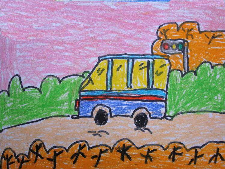 小汽车在路上奔跑简笔画
