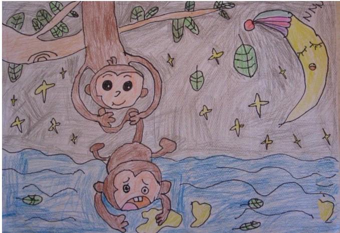 两只猴子捞月简笔画 两只猴子捞月图片欣赏 两只猴子捞月儿童画画作品