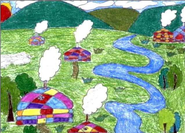 美丽的家乡简笔画 美丽的家乡图片欣赏 美丽的家乡儿童画画作品