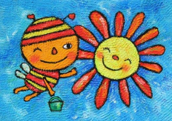 小蜜蜂与花朵简笔画_小蜜蜂与花朵图片欣赏