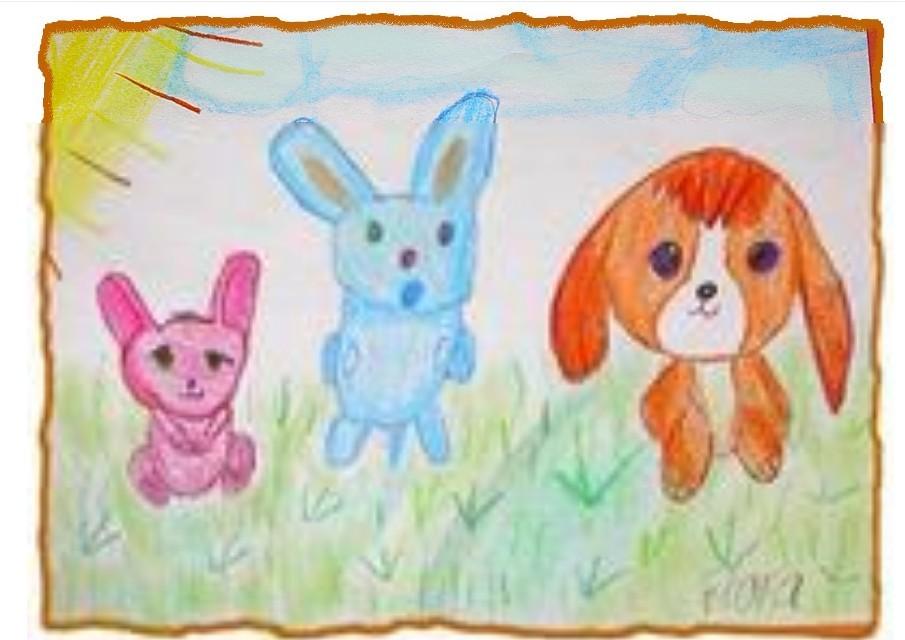 小白兔与小狗狗简笔画