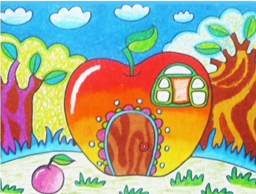 苹果屋简笔画 苹果屋图片欣赏 苹果屋儿童画画作品