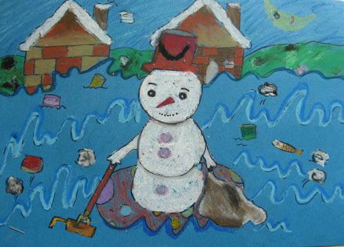 儿童画画 数字油画 雪人扫垃圾儿童画画